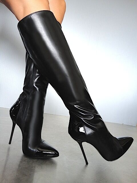 CQ COUTURE ITALY KNEE HIGH HEELS Stiefel STIEFEL CUSTUM LEATHER BLACK SCHWARZ 45