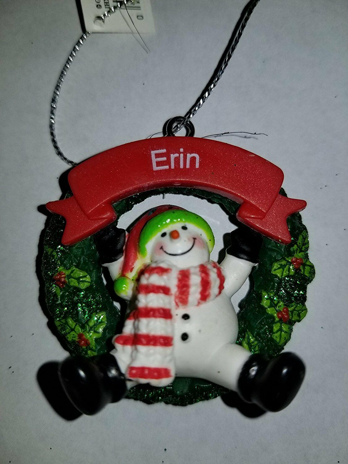 Derek Snowman Christmas Ornament Personalized Printed Name Ganz Holly Scarf Hat