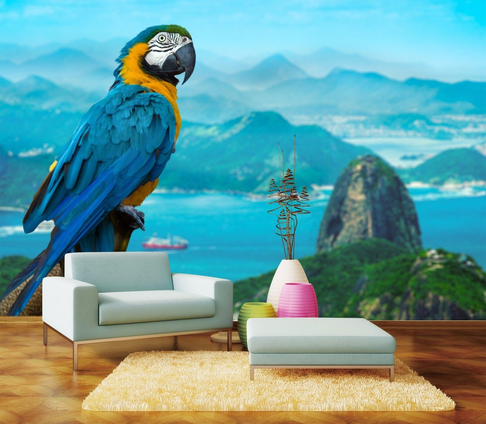 3D Bule Parrot 4 Wallpaper Murals Wall Print Wallpaper Mural AJ WALL AU Lemon