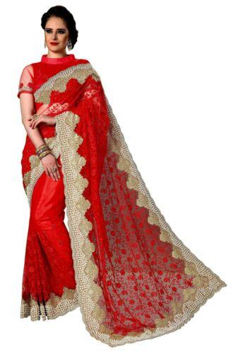 Sari Indian Ethnic Designer Net Embroidery Saree for Wedding Party wear K769