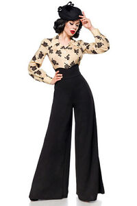 Sexy Pantalones Marlene Talle Alto Xs S M L Xl 2xl 3xl Negro Glamour Chic Ebay