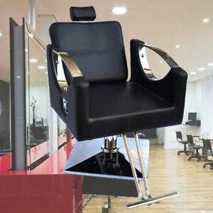 Black Adjustable Hydraulic Pump Barber Reclining Salon