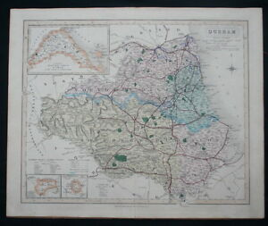 Antico Mappa Durham County Inghilterra J & C Walker c1864 Vittoriano