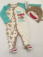 Sock Monkey Baby Boy Coverall Outfit Pajamas Hat Set Size 3 6 9 Months Aqua