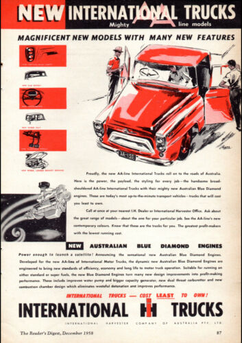 "1959 INTERNATIONAL HARVESTER AD A4 CANVAS PRINT POSTER 11.7/""x8.3/"""