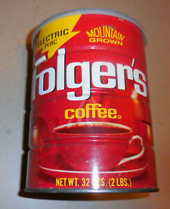 Vintage Flogers Mountain Grown Coffee Electric perk tin Can 32 Oz EMPTY Lid