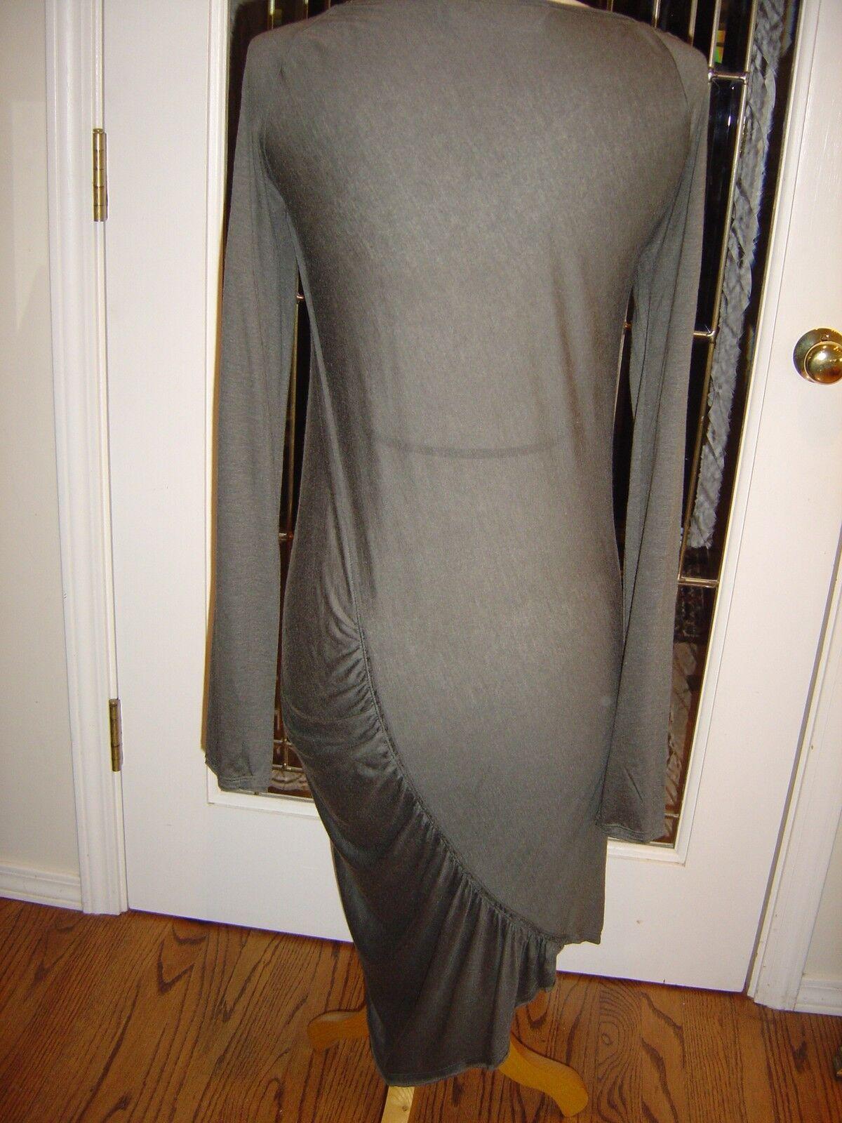 women Karan M cool moss green tee tee tee shirt dress modal, wool, cashmere asymetrical 7bed88