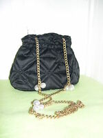 Dillard's Black Quilted With Gold And Pearl Chain Purse Bag Very Nice