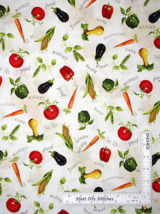 Kitchen-Food-Farm-Vegetables-Toss-Cotton-Fabric-Red-Rooster-Day-On-The-Farm-Yard
