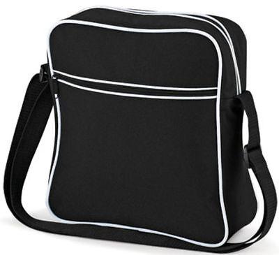 BAGBASE Schultertasche Retro Flight Bag Tasche Kontraststreifen-30x28x10cm (2)
