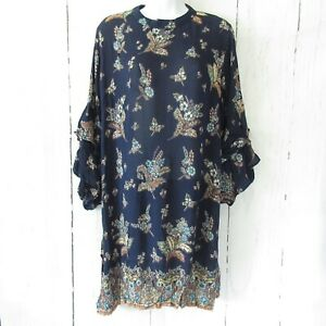 New-Angie-Dress-M-Medium-Blue-Floral-Paisley-Boho-Peasant-Ruffle-Bell-Sleeve
