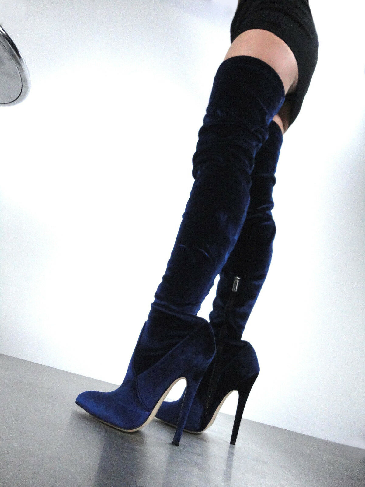 CQ COUTURE EXTREME OVERKNEE STIEFEL STIEFEL STIEFEL STRETCH VELVET BLAU 37  e3bf74