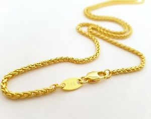 Source-22-inch-18ct-gold-Braided-Wheat-Chain-Necklace-2-5mm-thick