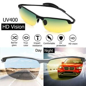 UV400 Day Night Vision Polarized Sunglasses Clip On Anti-Glare Driving Lens NEW