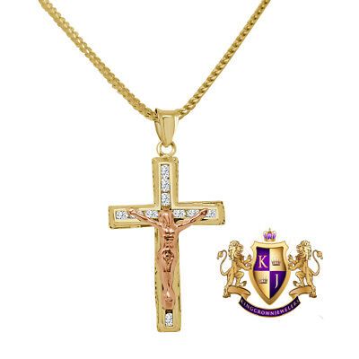 10k solid yellow gold 1.75inch two layered crucifix cross
