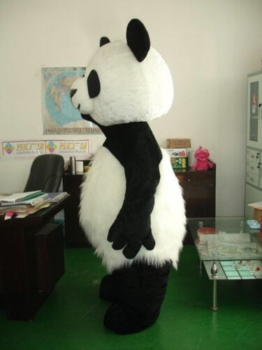 Halloween Panda Bear Mascot Costume Long Fur Cosplay Birthday Dress Adults Dress