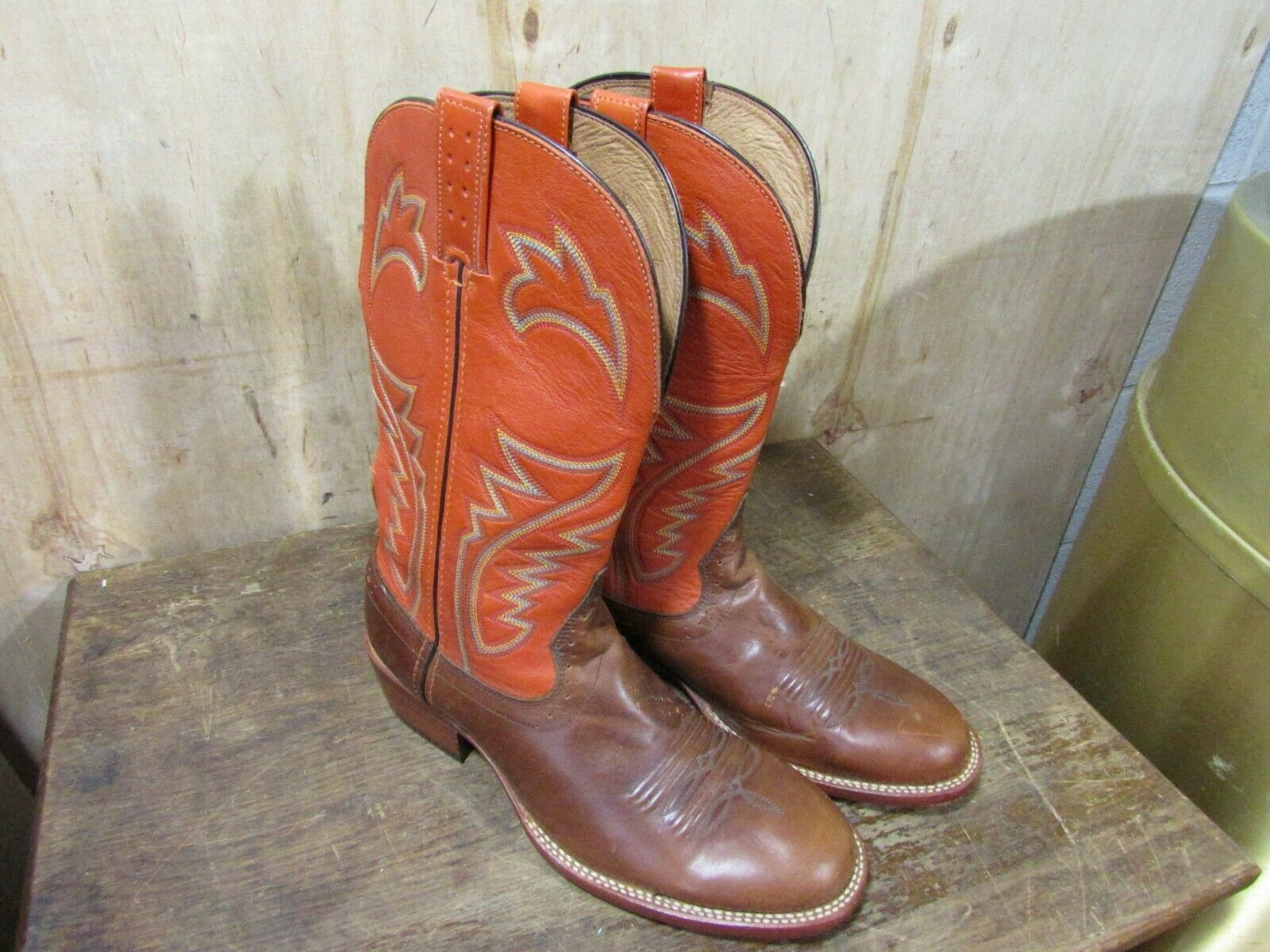 Road Wolf Men's Western Leather boots 1204 Brown Size 8 Low Price