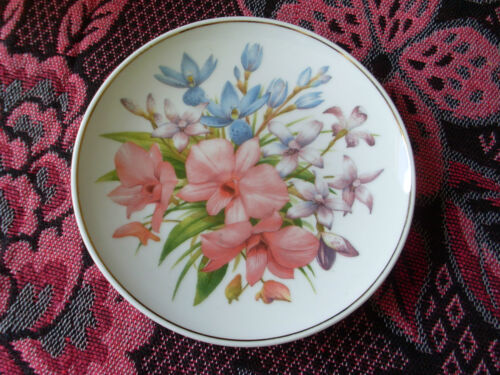 DECORATIVE DISPLAY PLATE SPOTTED SUN ORCHID MAUVE ENAMEL ORCHID COOKTOWN