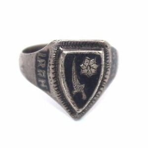 Vtg-WWII-Trench-Art-IRAN-1944-Sterling-Silver-NIELLO-Ring-LADIES-or-PINKY-Sz-5
