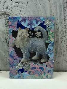 ACEO-Artist-Trading-Card-Beautiful-Glitter-Cat-Handmade-Stickers-amp-Glitter