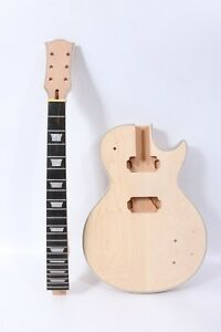 1set-Electric-guitar-Kit-Guitar-Neck-22-Fret-Body-With-Binding-Unfinished-Set-in