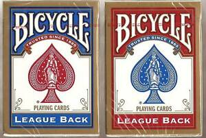 2 DECKS Bicycle League Back playing cards red /& blue