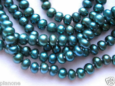 """48"""" Blue Green Color Freshwater Cultured Pearl Necklace No Clasp"""