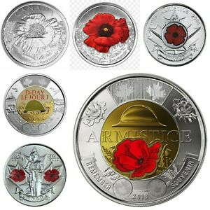 Coloured-Canada-Armistice-D-day-and-Red-poppy-coin-set-Very-Rare-Hurry-6-coins