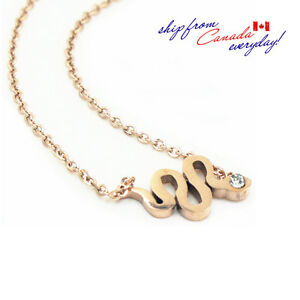 Adorable Snake 14K Rose GP Necklace/Hypoallergenic Stainless Steel