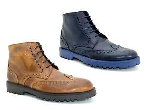 Caricamento dell immagine in corso Scarpe-uomo -vera-pelle-francesine-stringate-scarpe-alte- 0b8ad13bc19