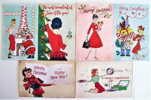 Choose Pack 6 NEW 1950s 50s Vintage Retro Mid Century Ladies Dress Xmas Cards