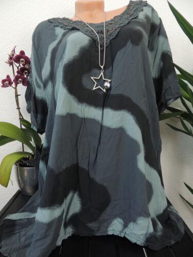 Damen Bluse Größe 44 46 48 50 Übergröße Tunika Blusen Shirt Batik Spitze 88