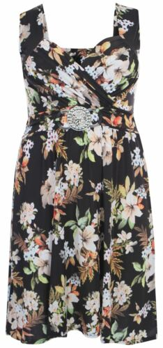 New Ladies Plus Size Floral Buckle Knee Length Dress 8-26