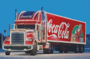 Cross stitch chart Christmas Truck Coke, Freightliner Coca Cola pattern