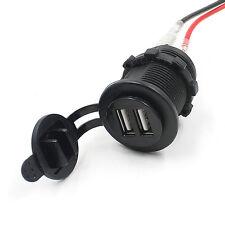 12V 24V 3.1A 2 USB Motorcycle Car Cigarette Lighter Socket Charger Power Adapter