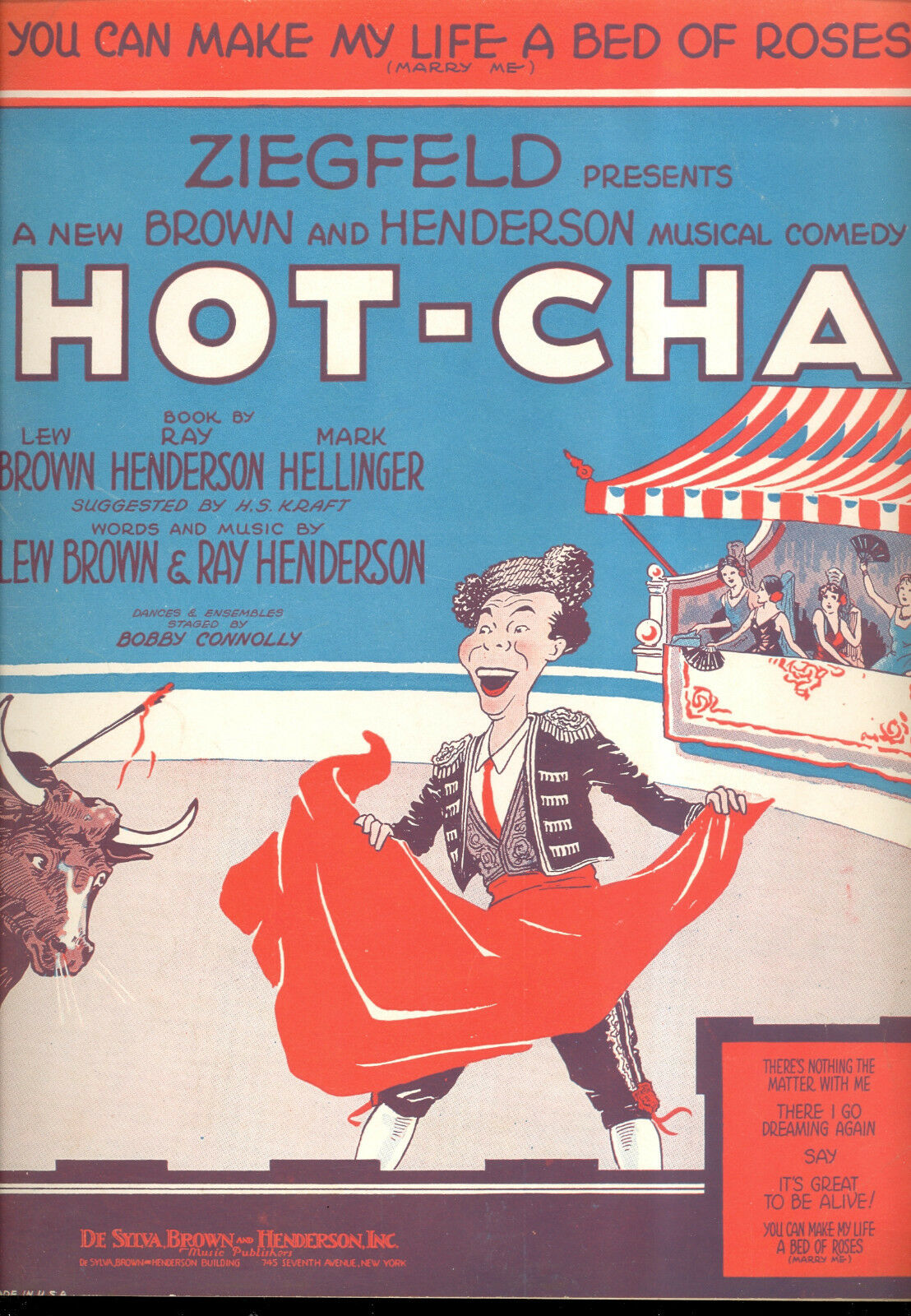 Hot-Cha Broadway show partitura  you can can can make my life a bed of rosados   tomamos a los clientes como nuestro dios
