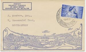 2453-1948-2-D-Wedding-cvr-FirstDay-Postmark-30th-PHILATELIC-CONGRES-BOURNEMOUTH