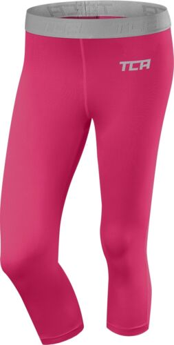 TCA Performance Womens 3//4 Tights Pink Stylish Flattering Fit Gym Running Capri