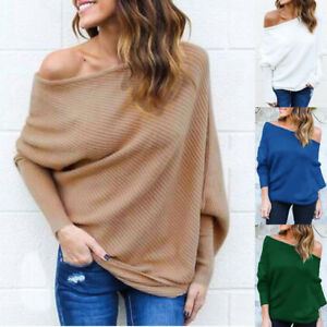 2b5db8e8181f5c Image is loading Winter-Women-One-Shoulder-Knitted-Top-Loose-Batwing-