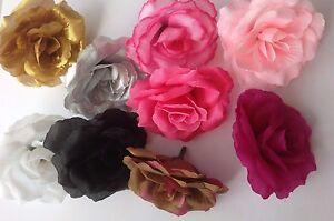 3 Artificial Simulation Silk Gold/Silver/Black Camellia Rose Flower Head 7cm