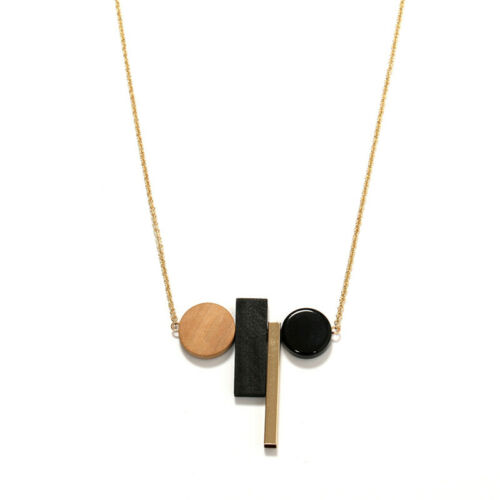 Women Wooden Necklace Geometric Pendant Rope Long Sweater Chain Jewelry Gift D