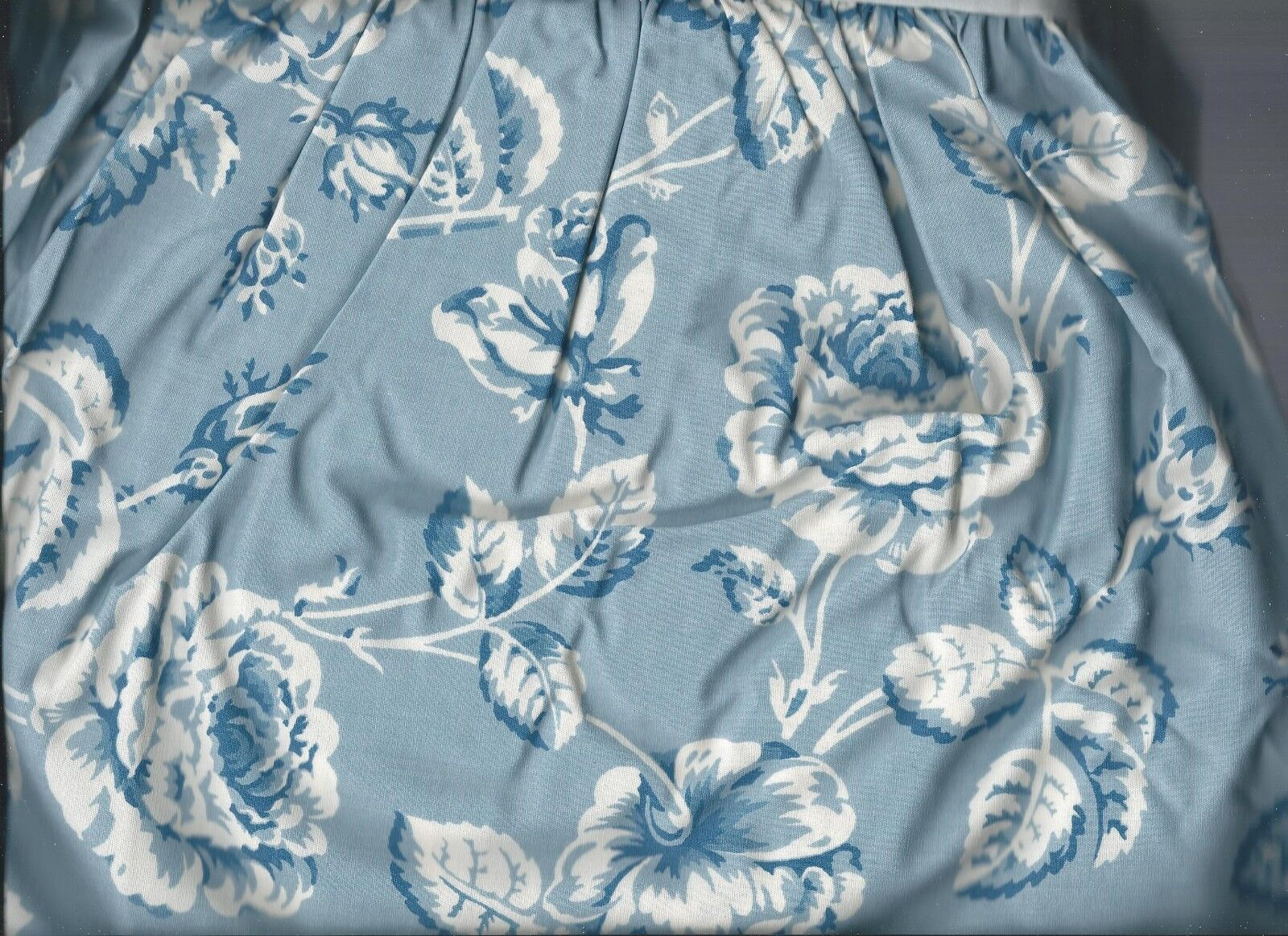 Ralph Lauren Meadowland Floral bluee White Full Bed Skirt Shabby New