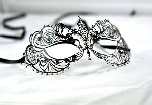 Stunning-Black-Metal-Filigree-Venetian-Masquerade-Mask-With-Diamantes-Laser-Cut