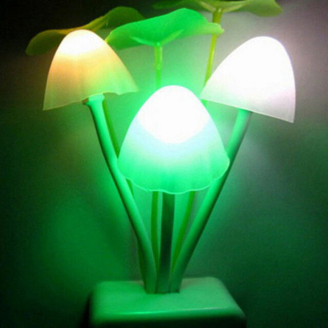 Creative Fantastic Romantic Mushroom Light Sense Control Led Night Wall Lamp US