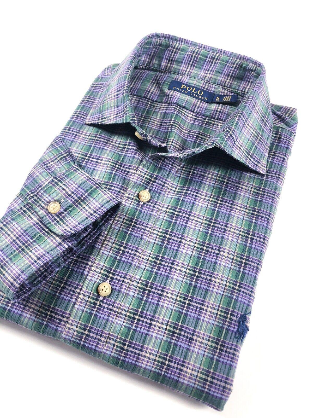 POLO Ralph Lauren Camicia Uomo Viola verde Twill Tartan Controlli diffusione Collare