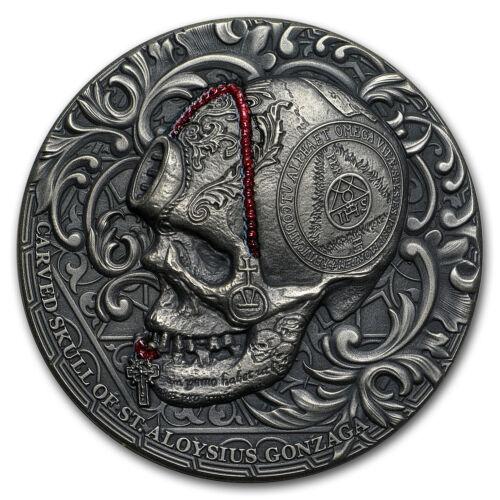 2018 Cameroon 1 oz Silver Carved Skull II Aloysius Gonzaga Bones SKU#167195