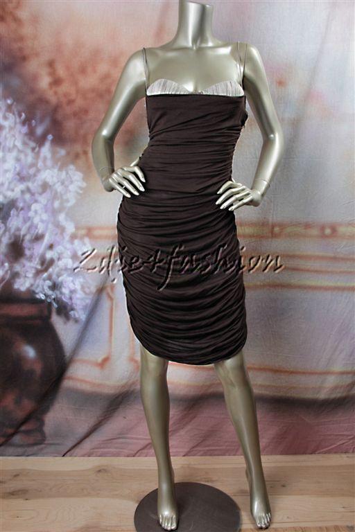 1025 Nueva azulMARINE Marrón  Bronceado Jersey Fruncido Elástico Sexy Vestido Bustier 8 42  ventas en linea
