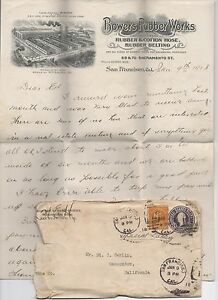 1918 Graphic Letterhead & Cover Bowers Rubber Works San Francisco CA
