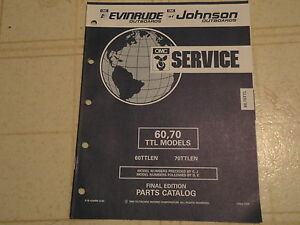 Details about 1992 OMC Johnson Evinrude 60 70 HP TTL models Outboard Parts  Catalog Manual