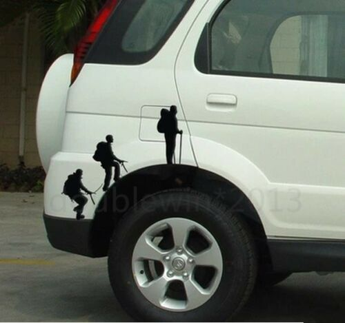 Car Wheel sticker Pair Three climbing mountain men funny right /& left side